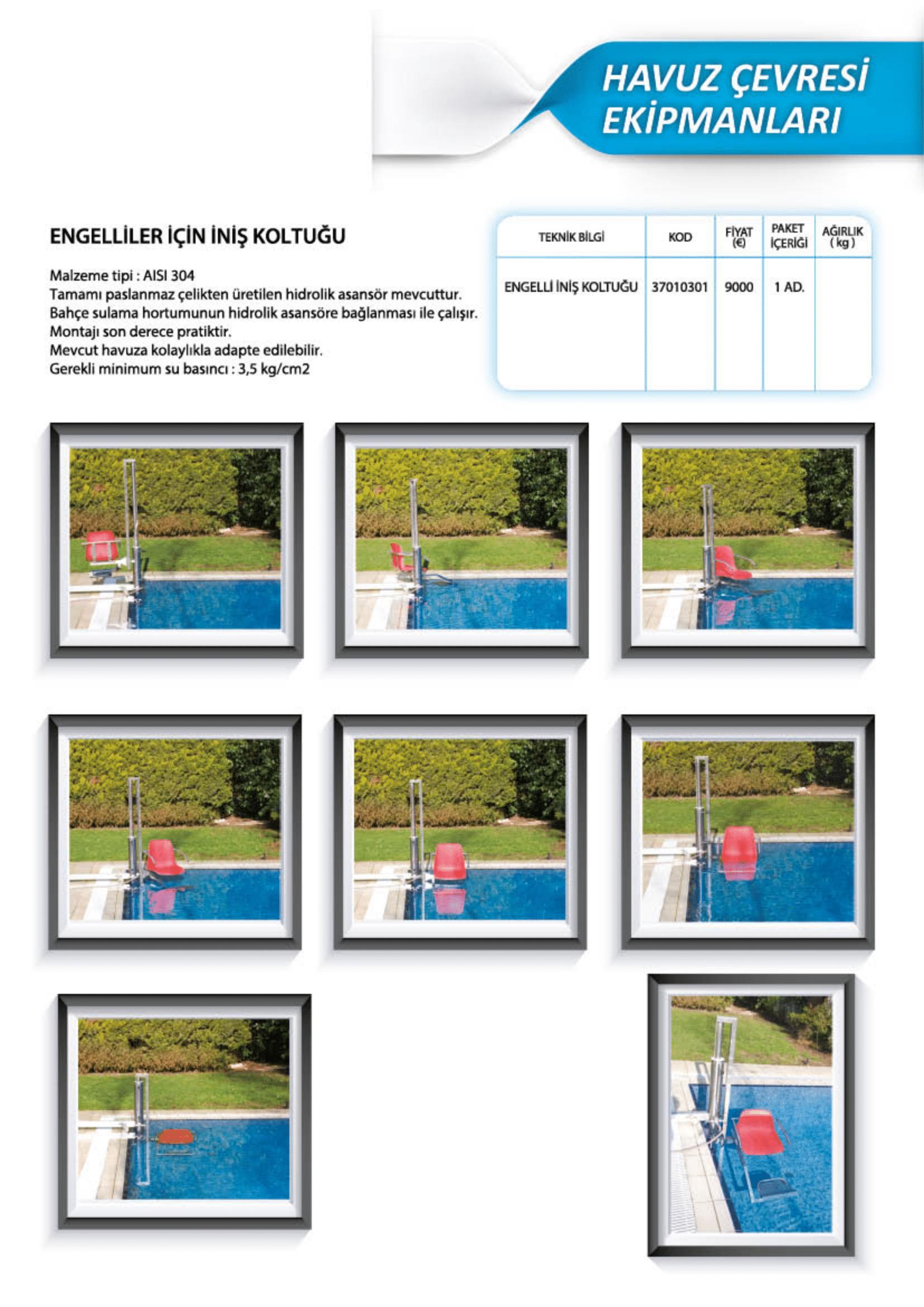 Santem Engelliler İçin Havuza İniş Koltuğu Özellikler